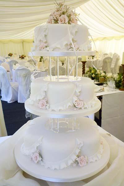 Pink Rose Petal Shaped Wedding Cake